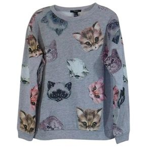 Forever 21 Gray Cat Print Crew Neck Sweater 1820